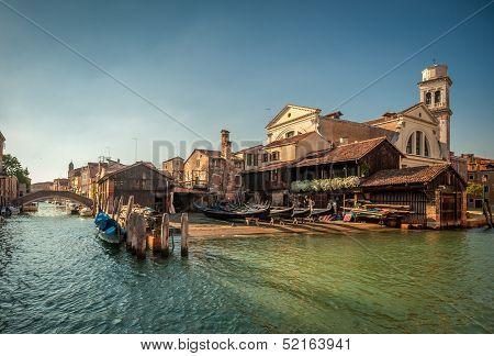 Squero San Trovaso, Gondola Boatyard In Venice, Italy