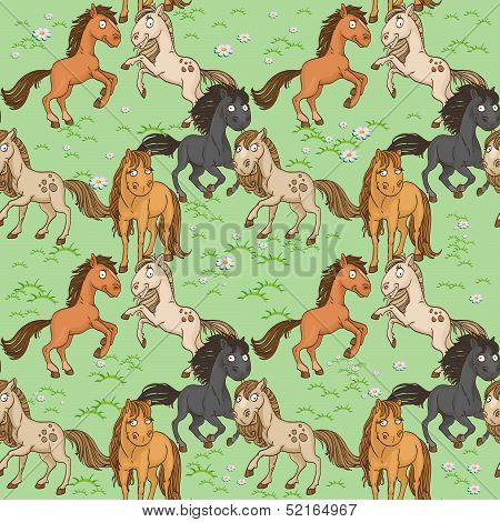 Seamless pattern of cute horse