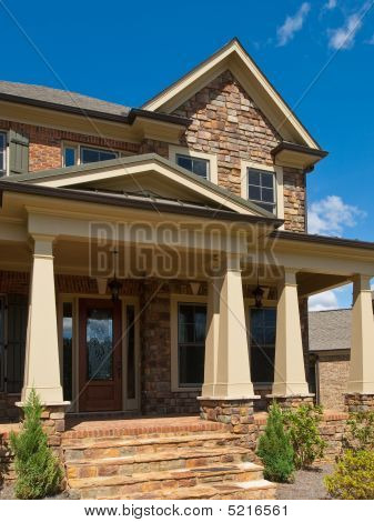 Luxury Model Home Column Exterior Entrance