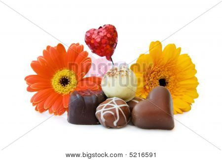 Anniversary Gift With Luxury Heart Shaped Chocolate And Flowers
