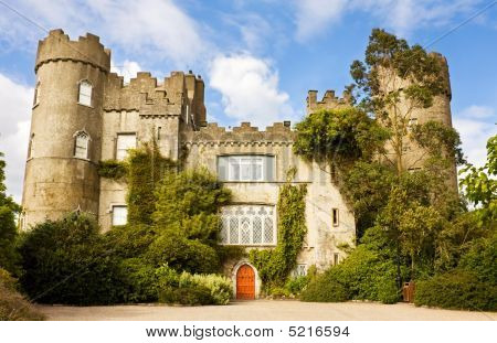 Medieval Irish Castle At Malahide In Dublin.