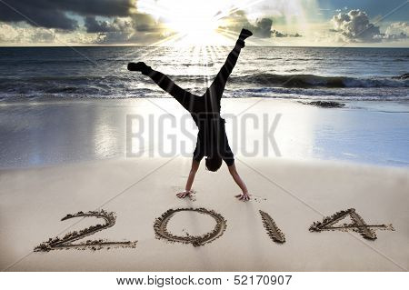 Happy New Year 2014 On The Beach With Sunrise