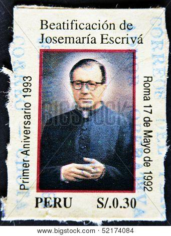 A stamp shows image of Saint Josemaria Escriva de Balaguer was a Roman Catholic priest, Opus Dei