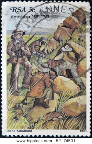 Republic Of South Africa - Circa 1981: A Stamp Printed In Transkei Shows The Battle Of Amajuba