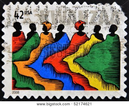 United States Of America - Circa 2008: A Stamp Printed In Usa Dedicated Ti Kwanzaa, Circa 2008