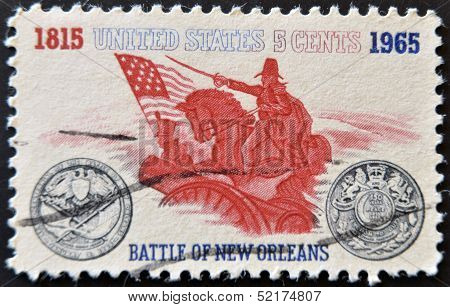 A stamp shows Battle of New Orleans. General Andrew Jackson and Sesquicentennial Medal