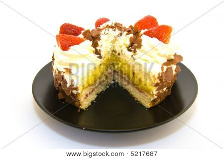 Strawberry Gateau With Slice Removed