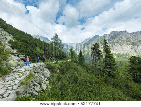 High Tatras (slovakia) Summer View And Family On Footway.