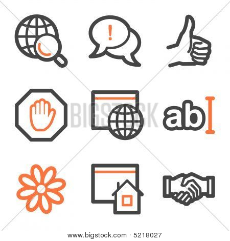 Internet Web Icons, Orange And Gray Contour Series