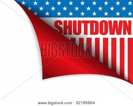 Vector - Shutdown Closed United States of America Page Corner poster