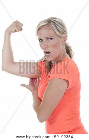 Attractive Blond Model Showing Of Arm Muscle?