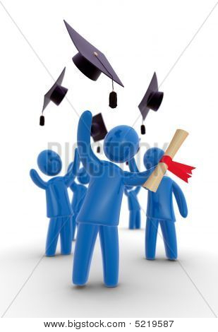 Graduates throwing hat