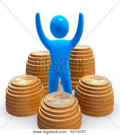 Blue figure among piles of golden dollar coins.