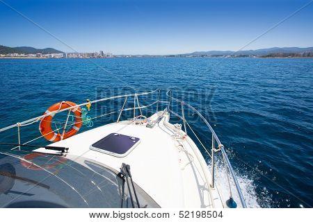 Ibiza San Antonio Abad Sant Antonio de Portmany view from boat at Balearic