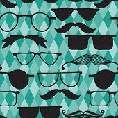 Vector Seamless hipster pattern with glasses and mustache pattern in swatch menu poster