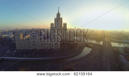 Building on Kotelnicheskaya Embankment and Yauza river at evening in Moscow, Russia. It is one of seven Stalin skyscrapers. Aerial view