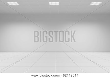 White Office Room With Tiled Ceiling