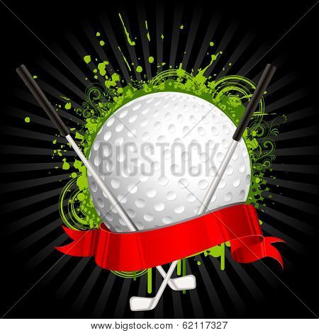 illustration of golf ball and stick wrapped in ribbon on grungy floral background