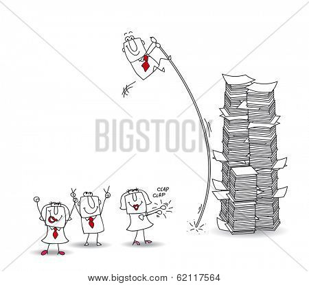 joe, the businessman jumps over a stack of paper