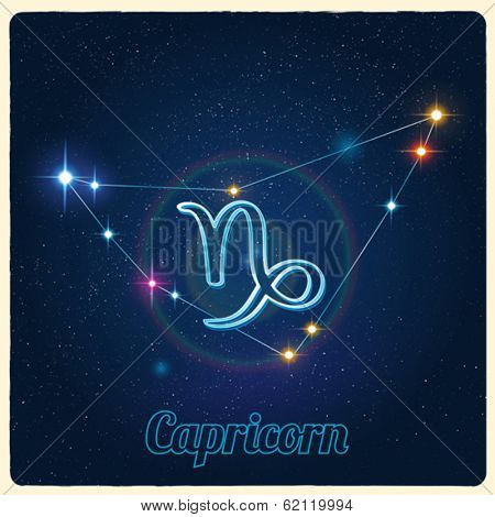 Vector constellation Capricorn with Zodiac sign
