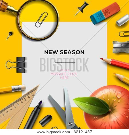New school season template with office supplies