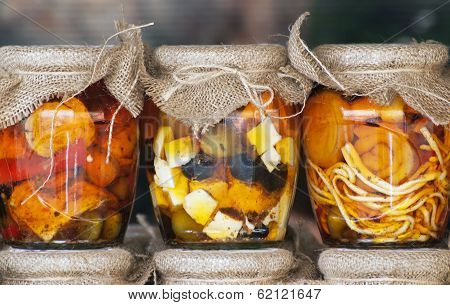 Feta Cheese And Olives In A Jars