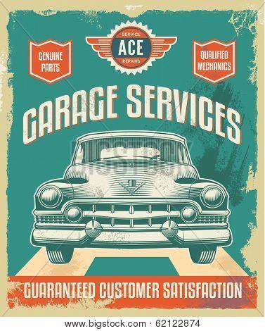 Vintage metal sign - Garage Services - Vector Design with removable grunge texture effect