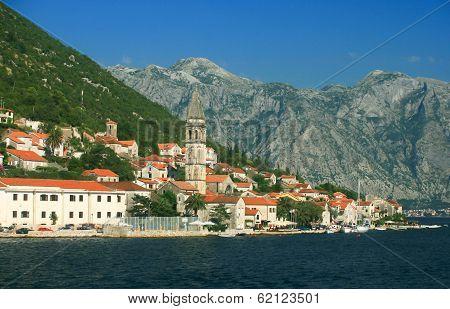 Small village at the bay of Kotor - Boka Kotorska, Montenegro poster