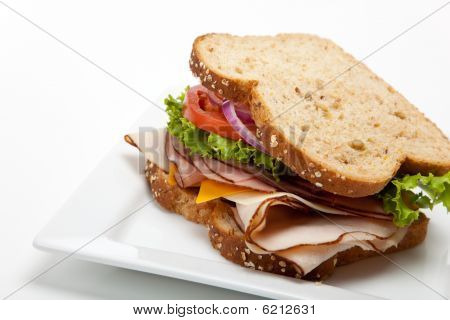 Turkey Sandwich On White Background