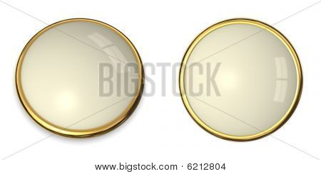 3D Button Gold And Pale Yellow