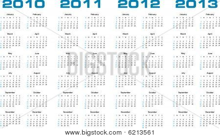 Calendar for years 2010 through 2013