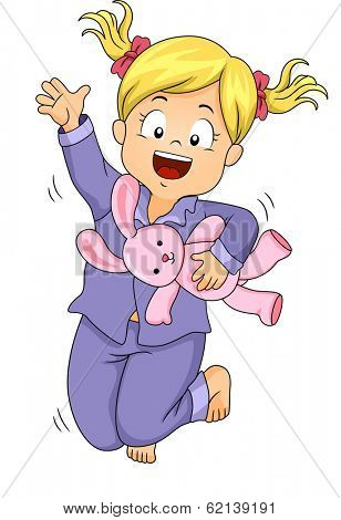 Illustration of a Little Girl in Pajamas Jumping Happily