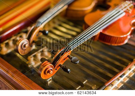 Violin Detail With Another One And Cimbalom Behind