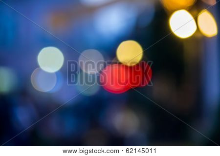 Abstract Background Of Blurred Street Lights With Bokeh Effect