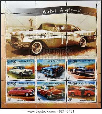 stamps printed in Cuba shows retro car