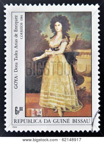 stamp shows draw by artist Goya - Donna Tadeo Arias de Enriques