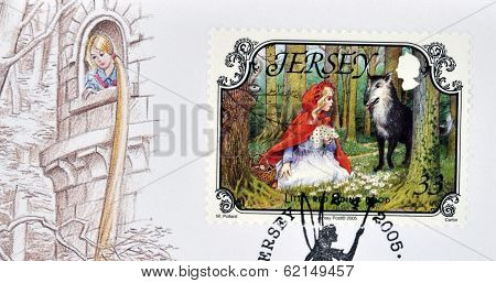 A stamp printed in Jersey shows Little Red Riding Hood and the Wolf