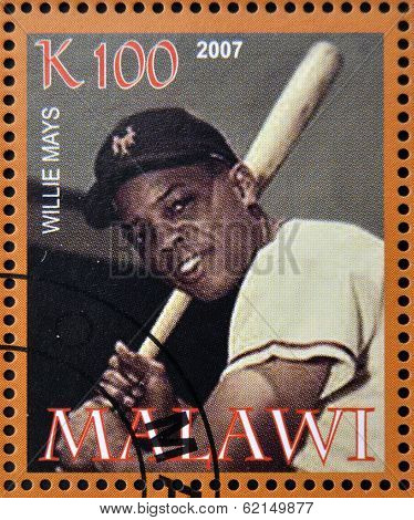 A stamp printed in Malawi dedicated to greatest baseball players shows Willie Mays