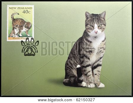 stamp printed in New Zealand shows Domestic Cat domestic moggy