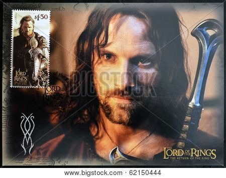 A stamp printed in New Zealand dedicated to The Lord of the Rings shows Aragorn