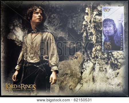 A stamp printed in New Zealand dedicated to The Lord of the Rings shows Frodo