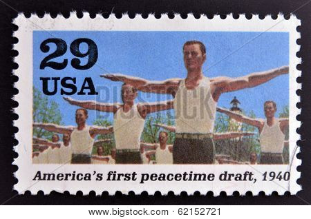 stamp dedicated to the Second World War shows America´s first peacetime draft
