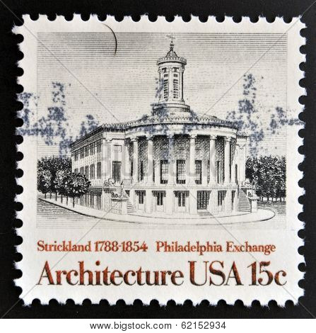 Stamp printed in USA shows Philadelphia Exchange by Strickland