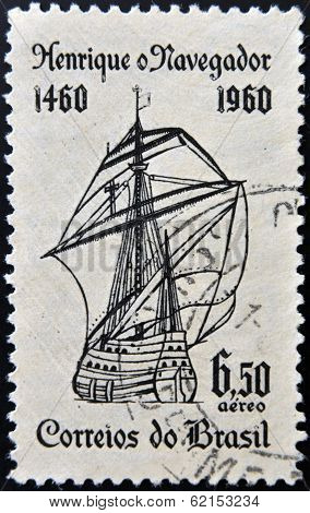 A stamp printed in Brazil dedicated to Henry the Navigator shows caravel
