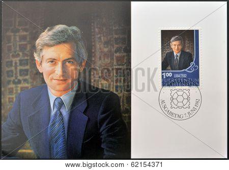 A stamp printed in Liechtenstein shows Hereditary Prince Hans Adam