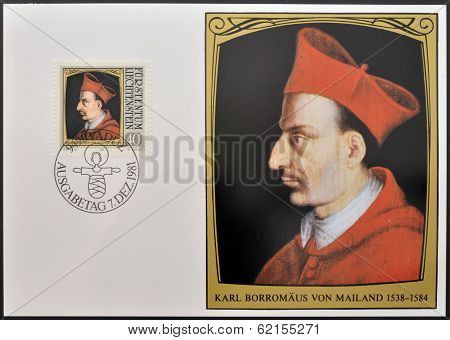 stamp dedicated to portraits of famous visitors to Liechtenstein shows St Carlo Borromeo