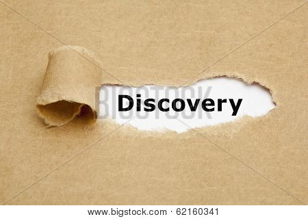The word Discovery appearing behind torn brown paper. poster
