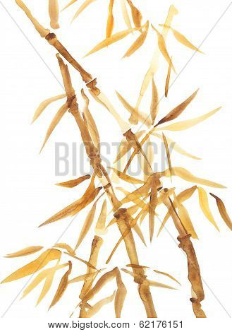 Bamboo Watercolor Asian Style Painting