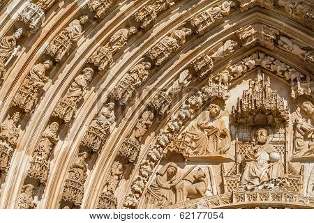 Batalha Monastery. Tympanum, Voussiors and  Archivolts of the Gothic Portal. Masterpiece of the Gothic and Manueline. Portugal. UNESCO World Heritage Site.