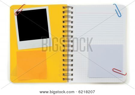 Spiral Notepad And Black Instant Photo